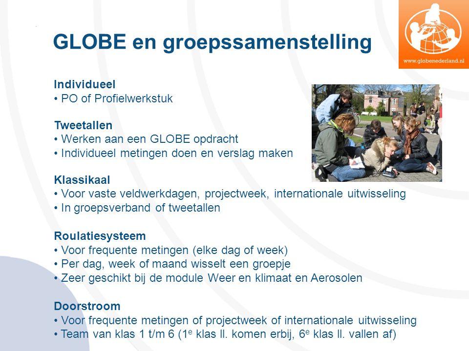 GLOBE en groepssamenstelling Individueel • PO of Profielwerkstuk Tweetallen • Werken aan een GLOBE opdracht • Individueel metingen doen en verslag mak
