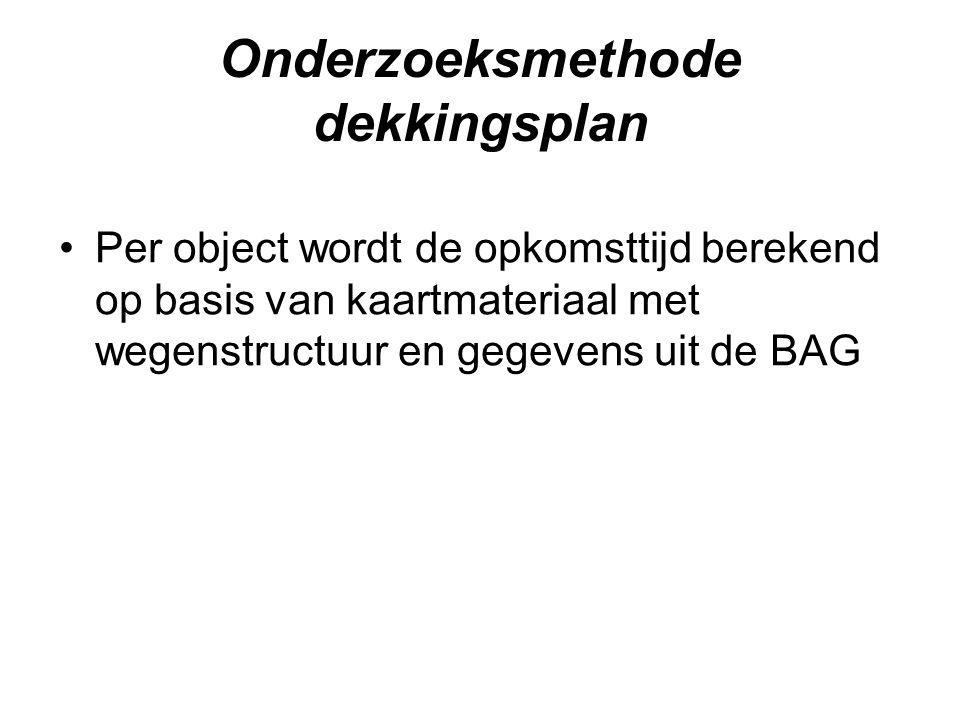 Onderzoeksmethode dekkingsplan •Per object wordt de opkomsttijd berekend op basis van kaartmateriaal met wegenstructuur en gegevens uit de BAG