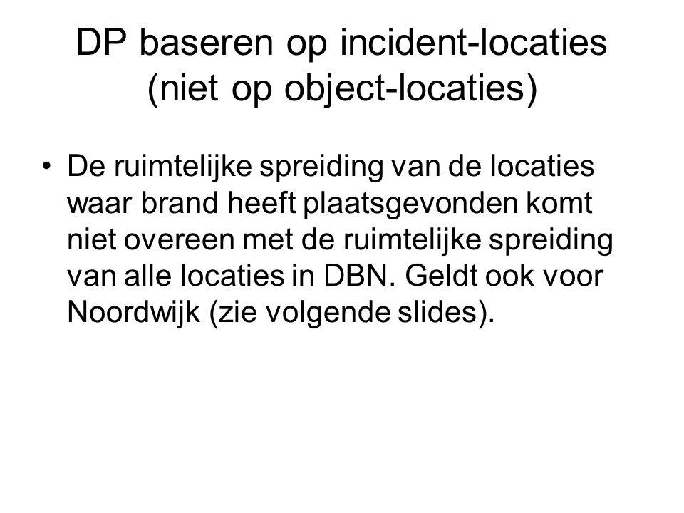 DP baseren op incident-locaties (niet op object-locaties) •De ruimtelijke spreiding van de locaties waar brand heeft plaatsgevonden komt niet overeen met de ruimtelijke spreiding van alle locaties in DBN.