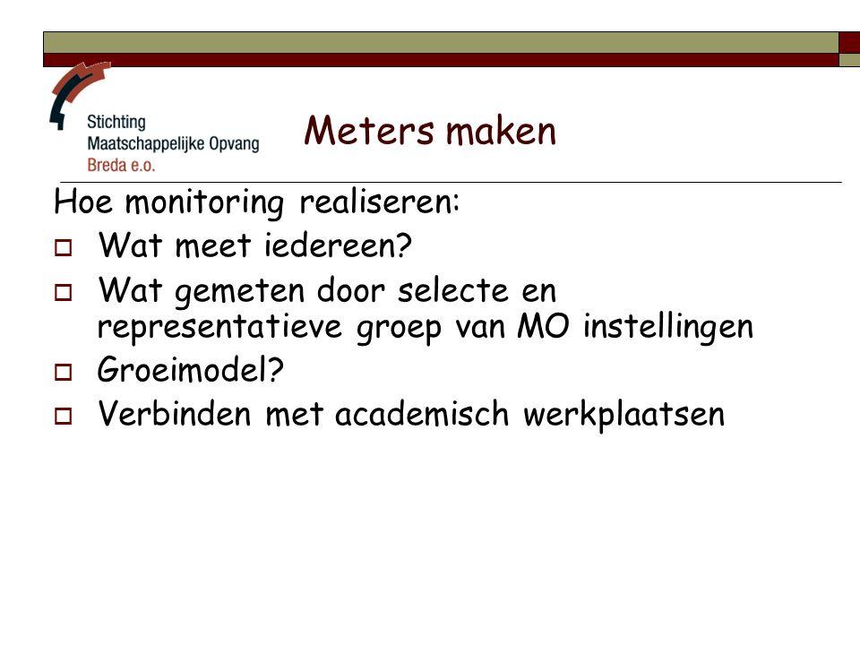Meters maken Hoe monitoring realiseren:  Wat meet iedereen.