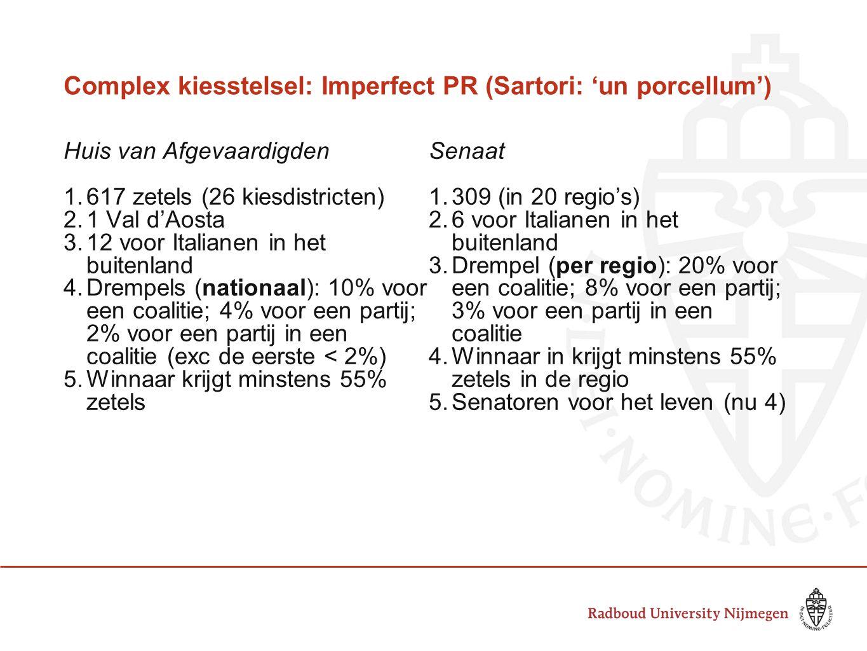 Complex kiesstelsel: Imperfect PR (Sartori: 'un porcellum') Huis van Afgevaardigden 1.617 zetels (26 kiesdistricten) 2.1 Val d'Aosta 3.12 voor Italian