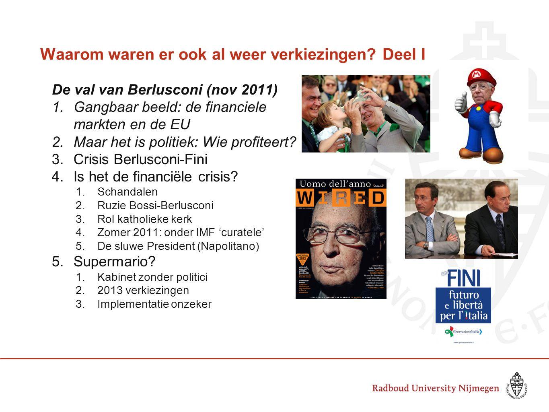 Waarom waren er ook al weer verkiezingen? Deel I De val van Berlusconi (nov 2011) 1.Gangbaar beeld: de financiele markten en de EU 2.Maar het is polit