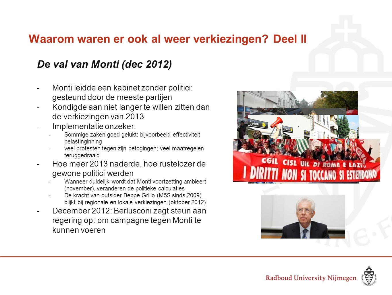Waarom waren er ook al weer verkiezingen? Deel II De val van Monti (dec 2012) -Monti leidde een kabinet zonder politici: gesteund door de meeste parti