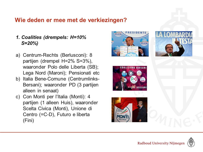 Wie deden er mee met de verkiezingen? 1. Coalities (drempels: H=10% S=20%) a)Centrum-Rechts (Berlusconi): 8 partijen (drempel H=2% S=3%), waaronder Po