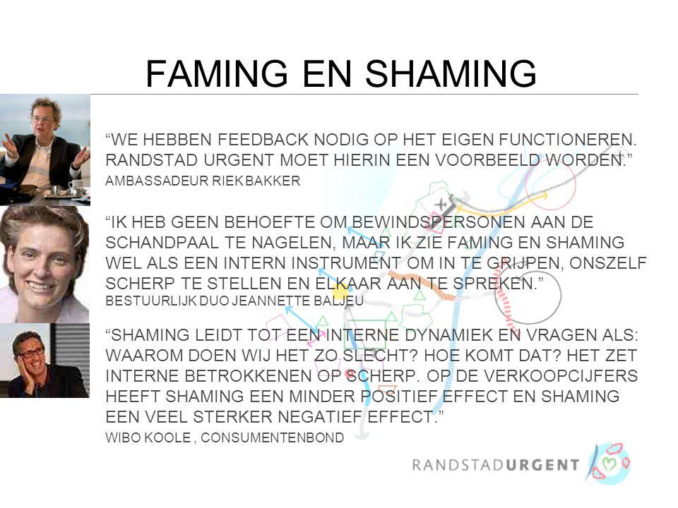 FAMING EN SHAMING WE HEBBEN FEEDBACK NODIG OP HET EIGEN FUNCTIONEREN.