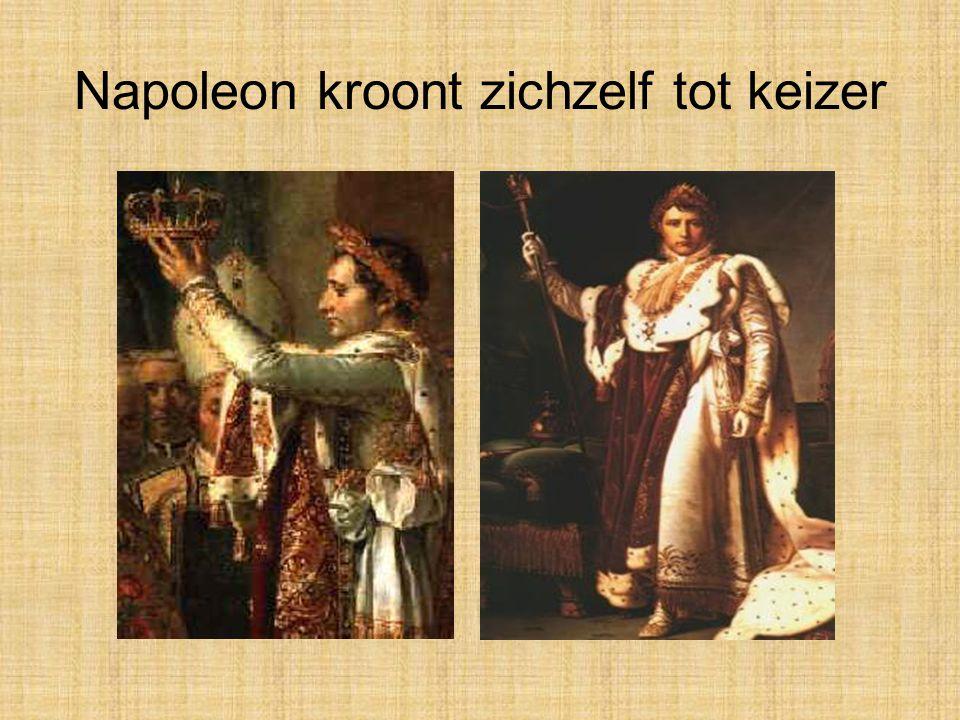 Napoleon Bonaparte •In 1799 zet Napoleon de Franse regering aan de kant en nam hij de macht over in Frankrijk en in alle gebieden die Frankrijk verove