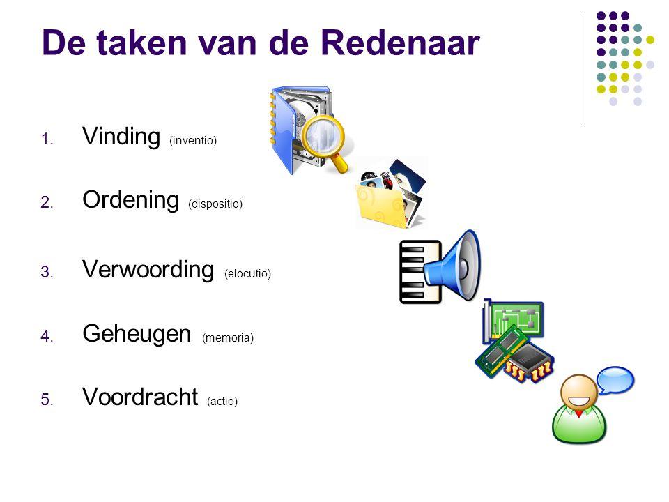 De taken van de Redenaar 1. Vinding (inventio) 2. Ordening (dispositio) 3. Verwoording (elocutio) 4. Geheugen (memoria) 5. Voordracht (actio)