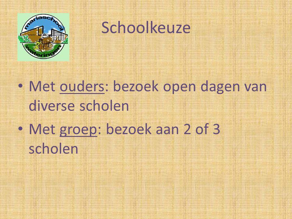 Schoolkeuze • Met ouders: bezoek open dagen van diverse scholen • Met groep: bezoek aan 2 of 3 scholen