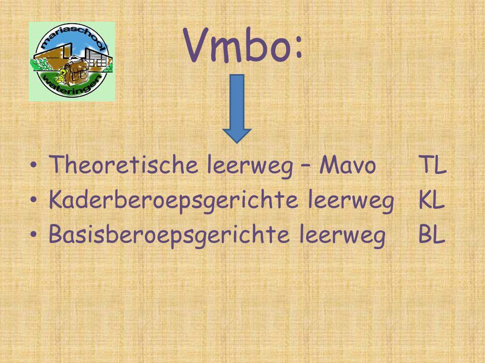 Vmbo: • Theoretische leerweg – MavoTL • Kaderberoepsgerichte leerwegKL • Basisberoepsgerichte leerwegBL