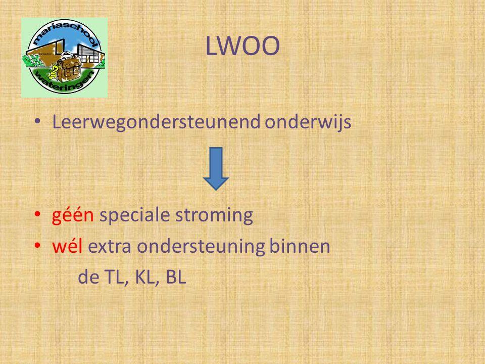 LWOO • Leerwegondersteunend onderwijs • géén speciale stroming • wél extra ondersteuning binnen de TL, KL, BL