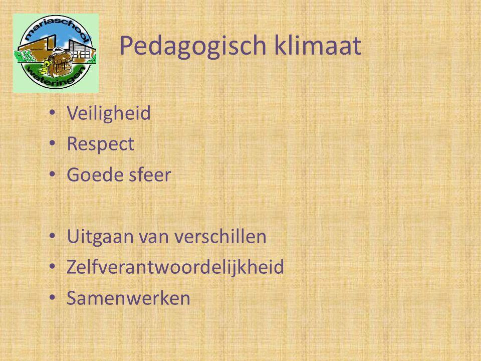 Pedagogisch klimaat • Veiligheid • Respect • Goede sfeer • Uitgaan van verschillen • Zelfverantwoordelijkheid • Samenwerken
