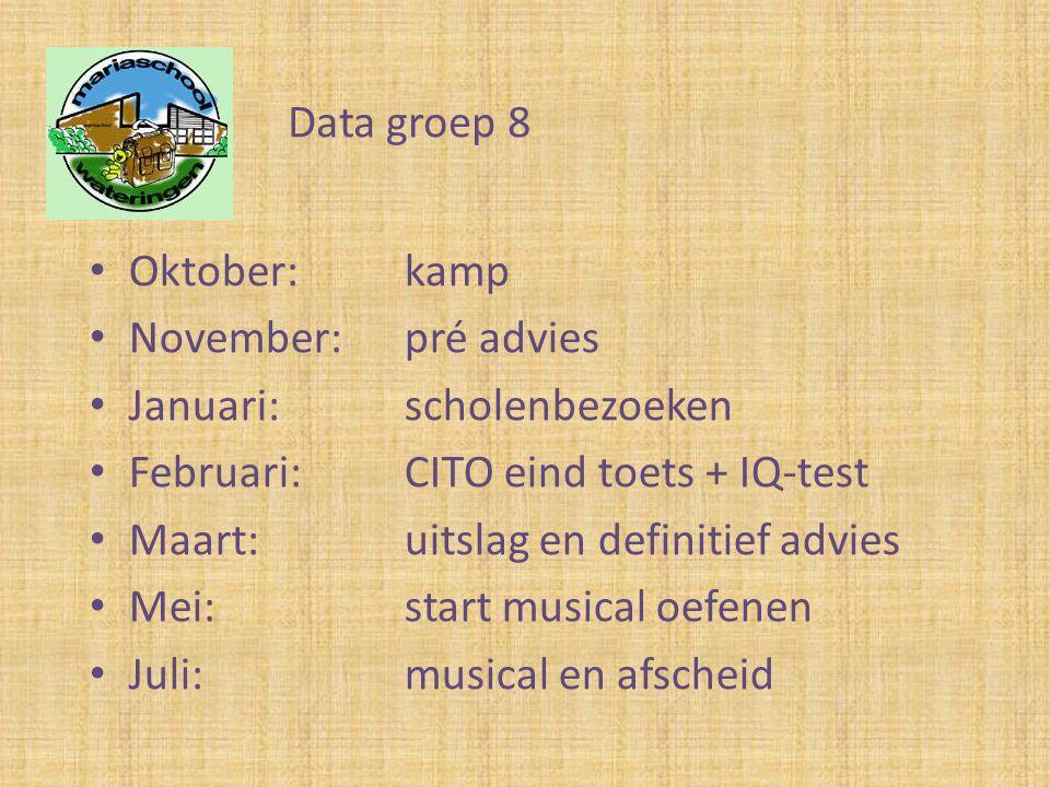 • Oktober:kamp • November: pré advies • Januari:scholenbezoeken • Februari:CITO eind toets + IQ-test • Maart:uitslag en definitief advies • Mei:start