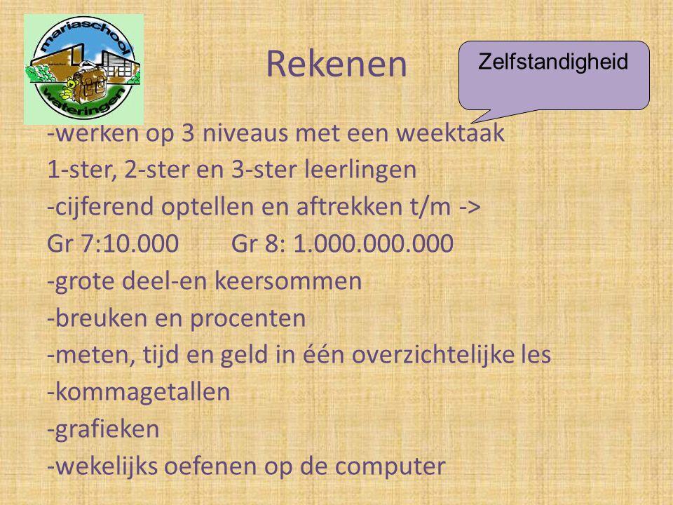 Rekenen -werken op 3 niveaus met een weektaak 1-ster, 2-ster en 3-ster leerlingen -cijferend optellen en aftrekken t/m -> Gr 7:10.000 Gr 8: 1.000.000.