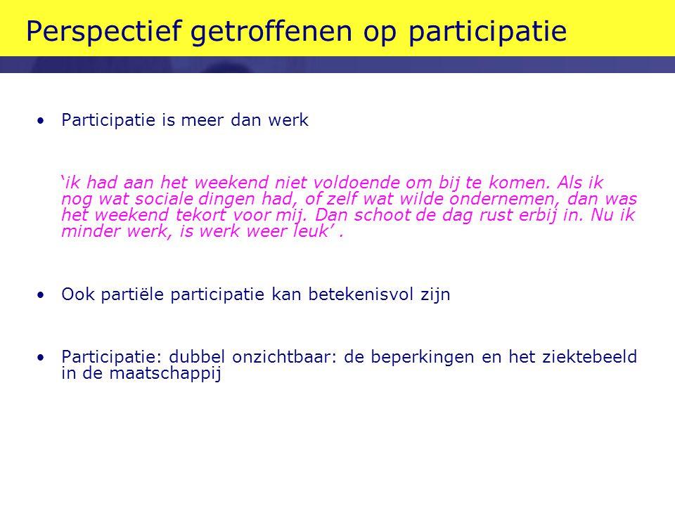 Perspectief getroffenen op participatie •Participatie is meer dan werk 'ik had aan het weekend niet voldoende om bij te komen.