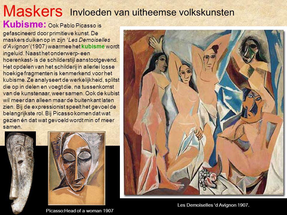 Maskers Kubisme: Ook Pablo Picasso is gefascineerd door primitieve kunst. De maskers duiken op in zijn 'Les Demoiselles d'Avignon' (1907) waarmee het