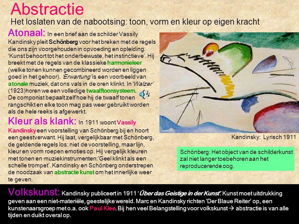 Abstractie Kandinsky: Lyrisch 1911 Het loslaten van de nabootsing: toon, vorm en kleur op eigen kracht Atonaal: In een brief aan de schilder Vassily K