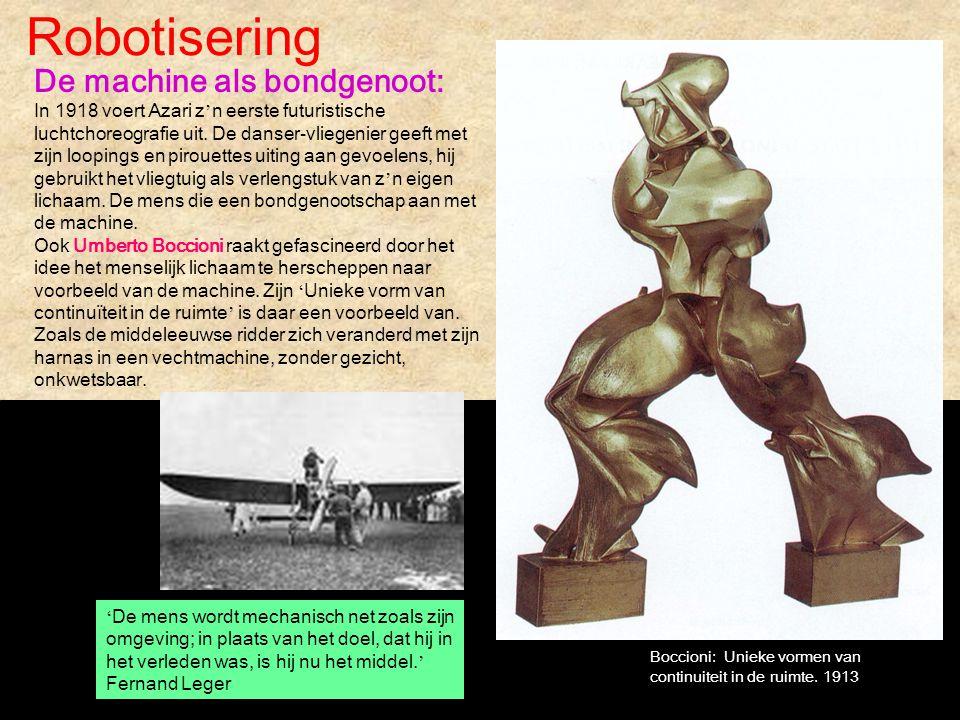 Robotisering De machine als bondgenoot: In 1918 voert Azari z ' n eerste futuristische luchtchoreografie uit. De danser-vliegenier geeft met zijn loop