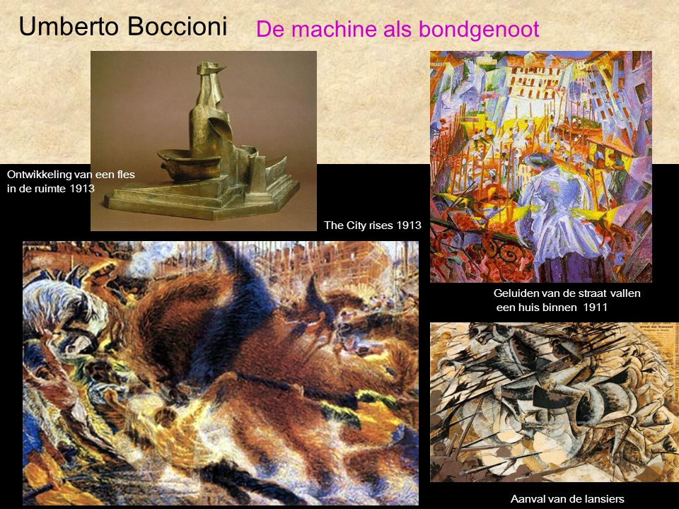 Umberto Boccioni De machine als bondgenoot Ontwikkeling van een fles in de ruimte 1913 Geluiden van de straat vallen een huis binnen 1911 The City ris