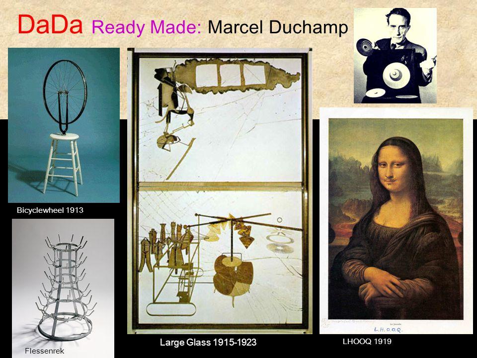 DaDa Ready Made: Marcel Duchamp LHOOQ 1919 Bicyclewheel 1913 Large Glass 1915-1923 Flessenrek
