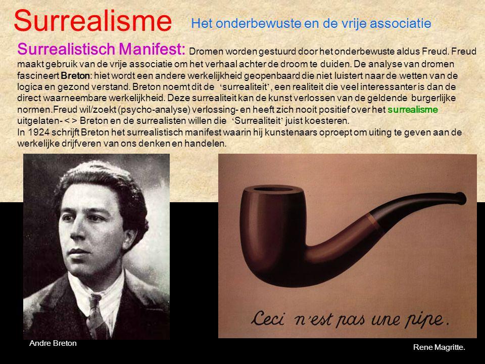 Surrealisme Het onderbewuste en de vrije associatie Surrealistisch Manifest: Dromen worden gestuurd door het onderbewuste aldus Freud. Freud maakt geb