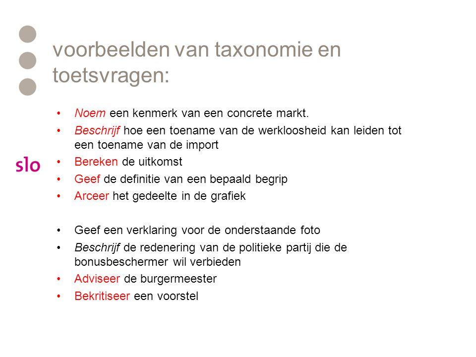 voorbeelden van taxonomie en toetsvragen: •Noem een kenmerk van een concrete markt.
