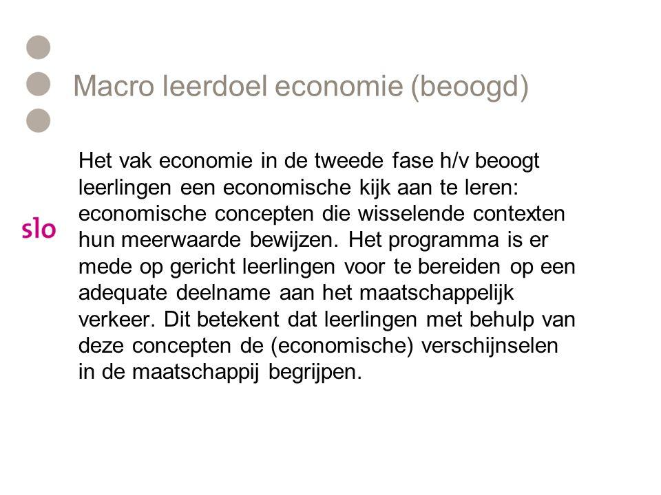 Macro leerdoel economie (beoogd) Het vak economie in de tweede fase h/v beoogt leerlingen een economische kijk aan te leren: economische concepten die wisselende contexten hun meerwaarde bewijzen.