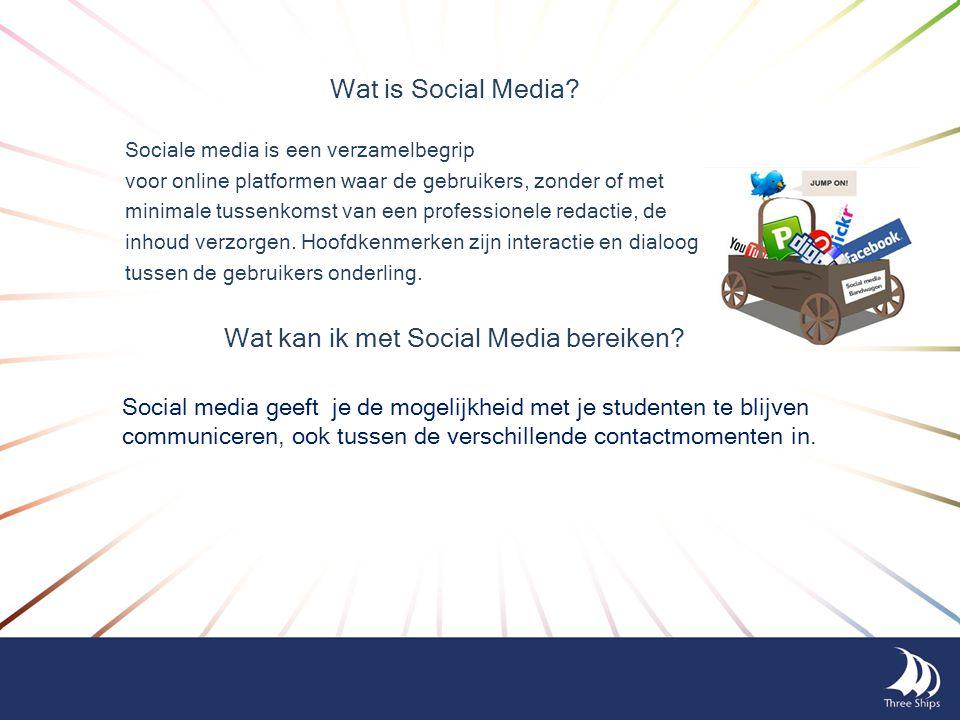 Social media geeft je de mogelijkheid met je studenten te blijven communiceren, ook tussen de verschillende contactmomenten in. Wat kan ik met Social