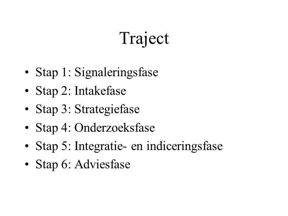 Traject •Stap 1: Signaleringsfase •Stap 2: Intakefase •Stap 3: Strategiefase •Stap 4: Onderzoeksfase •Stap 5: Integratie- en indiceringsfase •Stap 6: