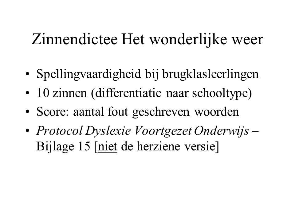 Zinnendictee Het wonderlijke weer •Spellingvaardigheid bij brugklasleerlingen •10 zinnen (differentiatie naar schooltype) •Score: aantal fout geschrev