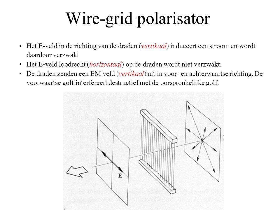 Wire-grid polarisator •Het E-veld in de richting van de draden (vertikaal) induceert een stroom en wordt daardoor verzwakt •Het E-veld loodrecht (horizontaal) op de draden wordt niet verzwakt.