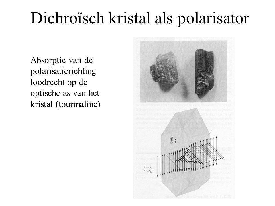 Dichroïsch kristal als polarisator Absorptie van de polarisatierichting loodrecht op de optische as van het kristal (tourmaline)