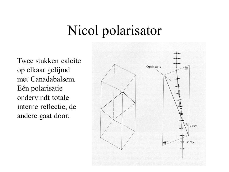 Nicol polarisator Twee stukken calcite op elkaar gelijmd met Canadabalsem. Eén polarisatie ondervindt totale interne reflectie, de andere gaat door.