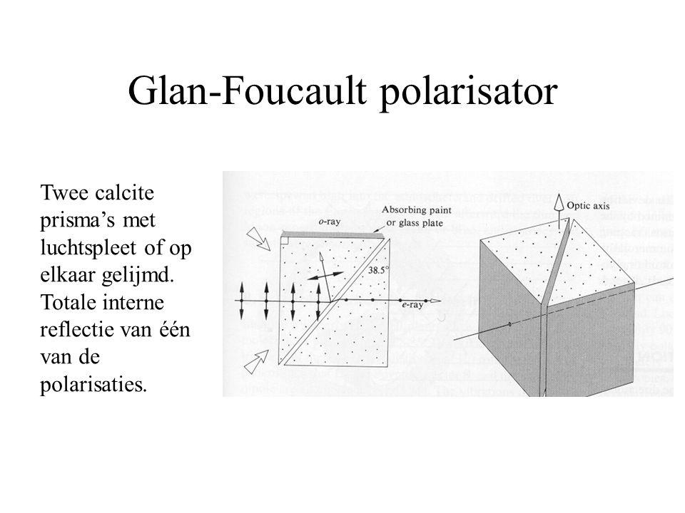 Glan-Foucault polarisator Twee calcite prisma's met luchtspleet of op elkaar gelijmd. Totale interne reflectie van één van de polarisaties.
