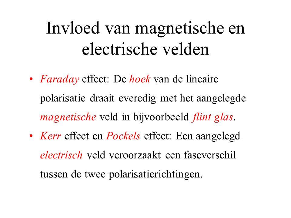 Invloed van magnetische en electrische velden •Faraday effect: De hoek van de lineaire polarisatie draait everedig met het aangelegde magnetische veld in bijvoorbeeld flint glas.