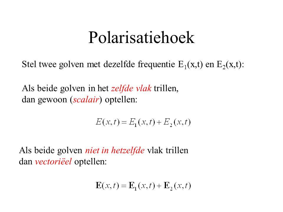 Polarisatiehoek Stel twee golven met dezelfde frequentie E 1 (x,t) en E 2 (x,t): Als beide golven in het zelfde vlak trillen, dan gewoon (scalair) optellen: Als beide golven niet in hetzelfde vlak trillen dan vectoriëel optellen: