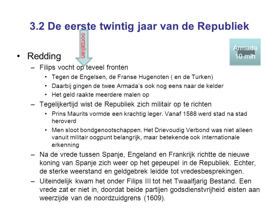 3.2 De eerste twintig jaar van de Republiek •Redding –Filips vocht op teveel fronten •Tegen de Engelsen, de Franse Hugenoten ( en de Turken) •Daarbij