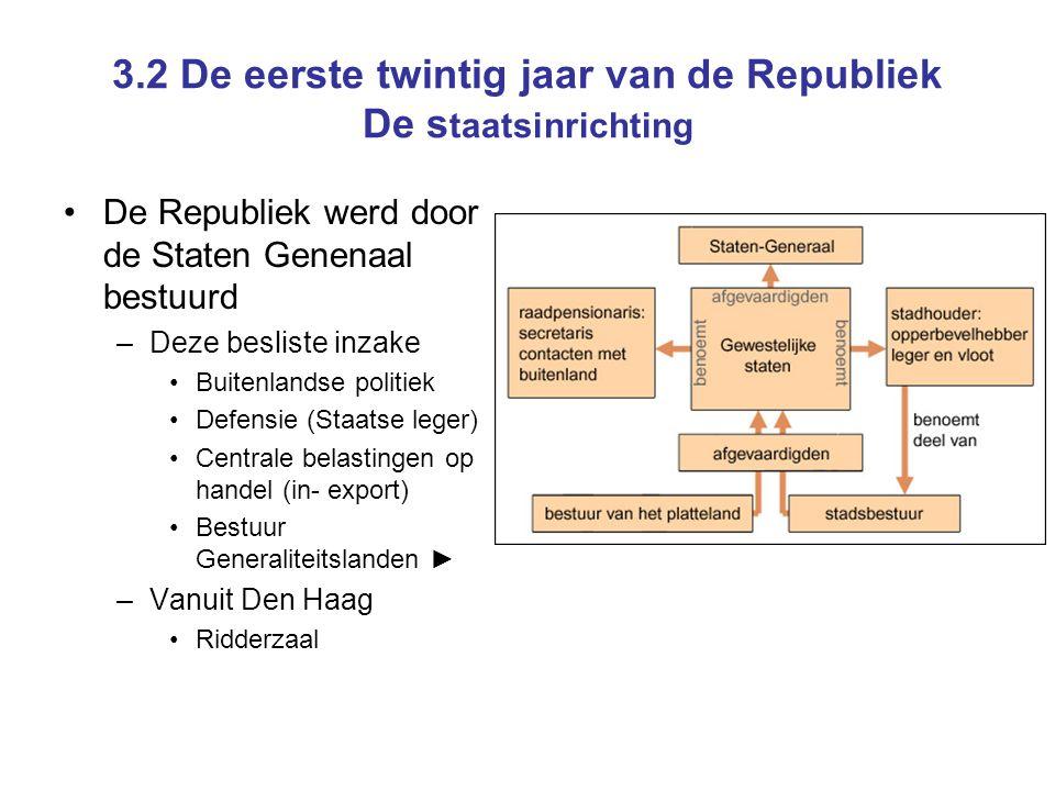 •De Republiek werd door de Staten Genenaal bestuurd –Deze besliste inzake •Buitenlandse politiek •Defensie (Staatse leger) •Centrale belastingen op ha
