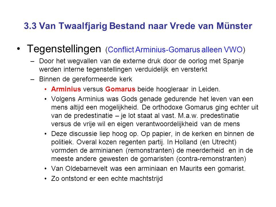 3.3 Van Twaalfjarig Bestand naar Vrede van Münster •Tegenstellingen (Conflict Arminius-Gomarus alleen VWO) –Door het wegvallen van de externe druk doo
