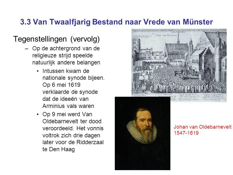 3.3 Van Twaalfjarig Bestand naar Vrede van Münster Tegenstellingen (vervolg) –Op de achtergrond van de religieuze strijd speelde natuurlijk andere belangen •Intussen kwam de nationale synode bijeen.