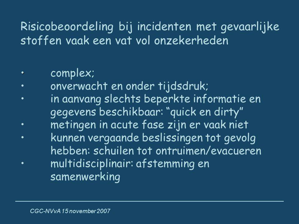 CGC-NVvA 15 november 2007 Risicobeoordeling bij incidenten met gevaarlijke stoffen vaak een vat vol onzekerheden • •complex; • onverwacht en onder tij