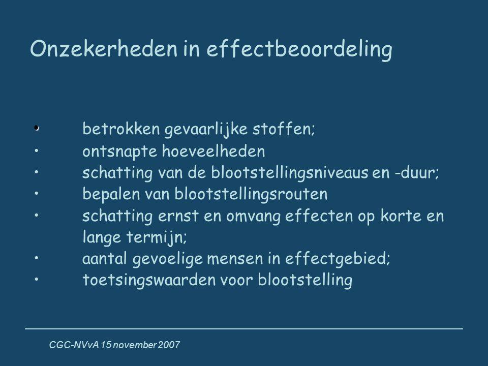 CGC-NVvA 15 november 2007 Onzekerheden in effectbeoordeling • • betrokken gevaarlijke stoffen; • ontsnapte hoeveelheden • schatting van de blootstelli