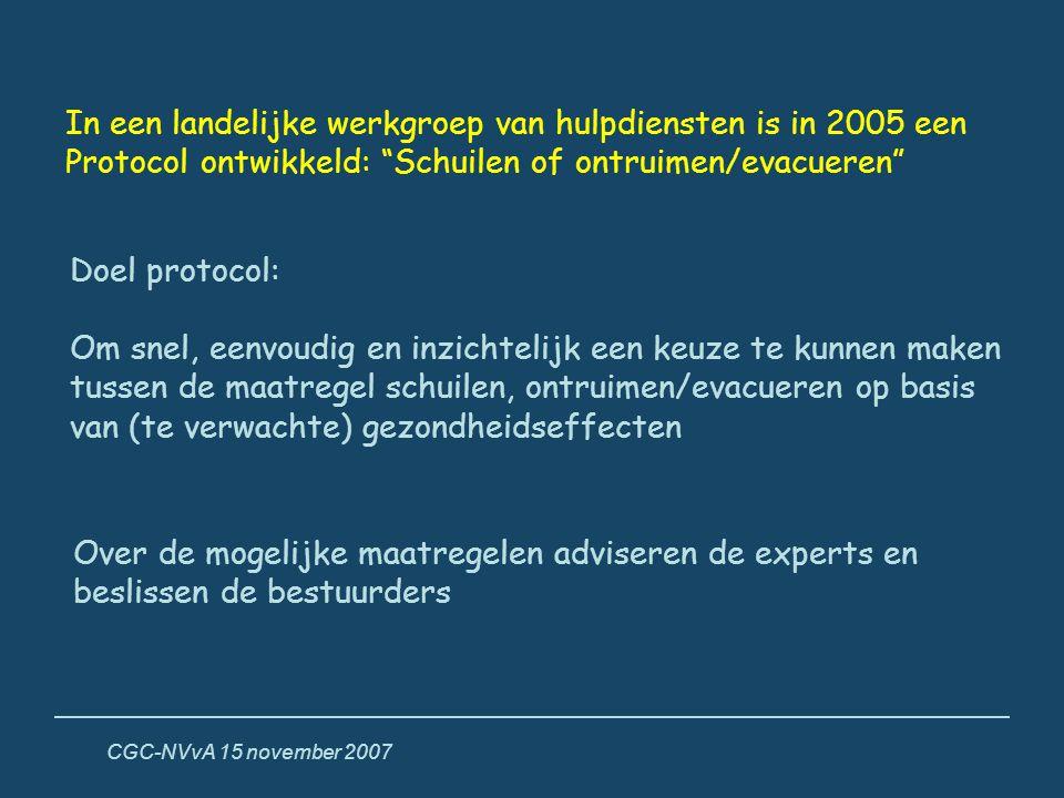 """CGC-NVvA 15 november 2007 In een landelijke werkgroep van hulpdiensten is in 2005 een Protocol ontwikkeld: """"Schuilen of ontruimen/evacueren"""" Doel prot"""