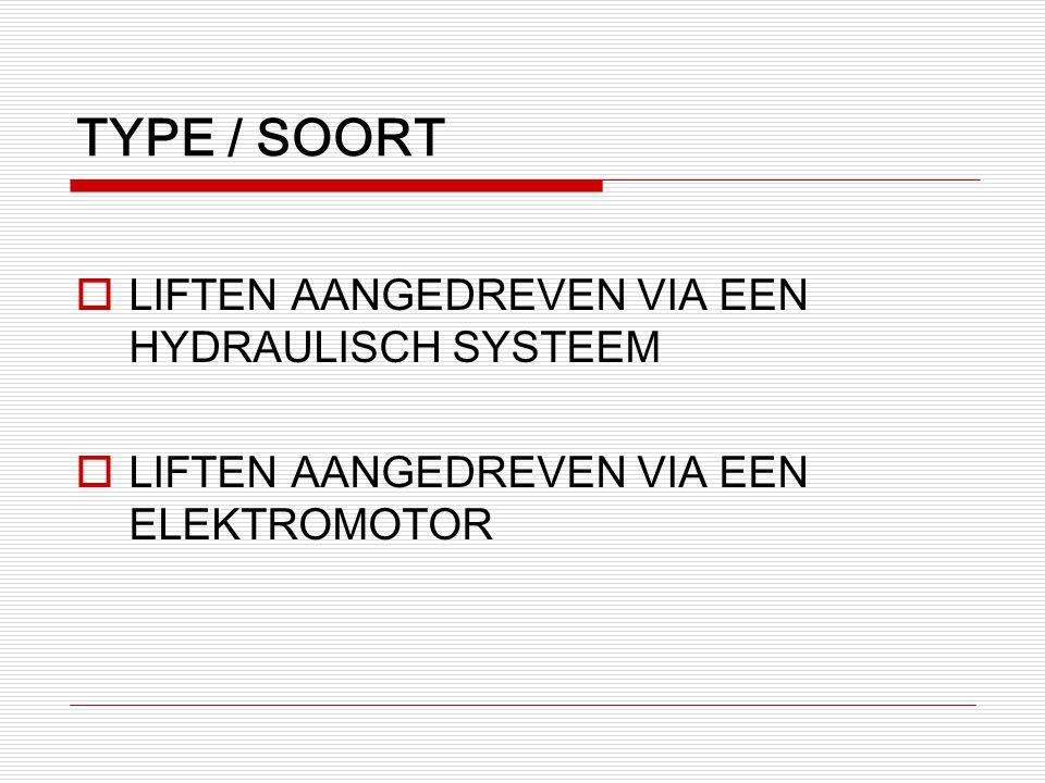 TYPE / SOORT  LIFTEN AANGEDREVEN VIA EEN HYDRAULISCH SYSTEEM  LIFTEN AANGEDREVEN VIA EEN ELEKTROMOTOR