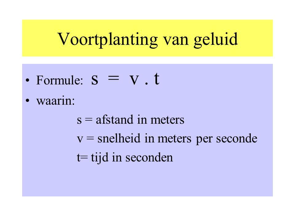 Voortplanting van geluid •Formule: s = v.