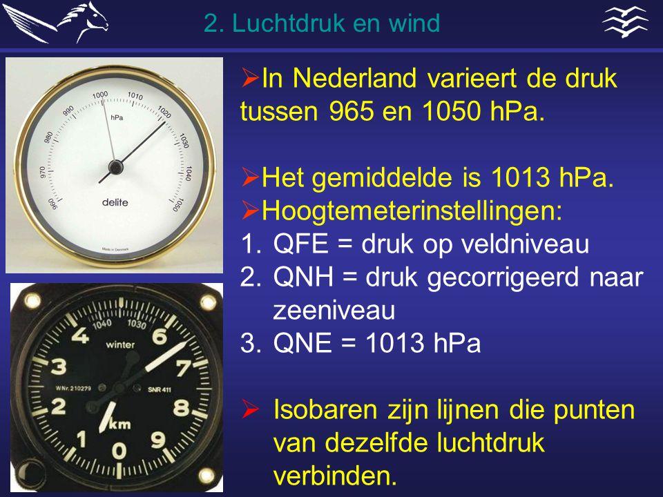  In Nederland varieert de druk tussen 965 en 1050 hPa.  Het gemiddelde is 1013 hPa.  Hoogtemeterinstellingen: 1.QFE = druk op veldniveau 2.QNH = dr