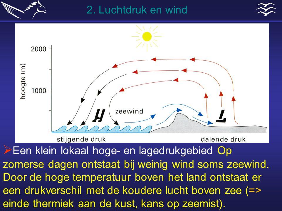  Een klein lokaal hoge- en lagedrukgebied Op zomerse dagen ontstaat bij weinig wind soms zeewind. Door de hoge temperatuur boven het land ontstaat er