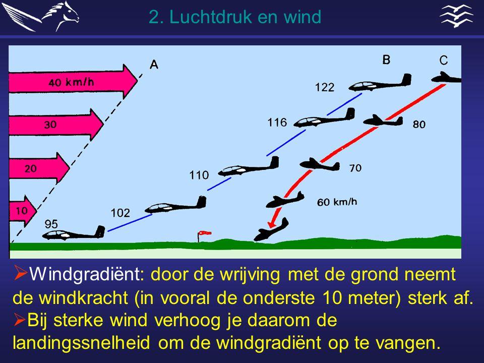  Windgradiënt: door de wrijving met de grond neemt de windkracht (in vooral de onderste 10 meter) sterk af.  Bij sterke wind verhoog je daarom de la