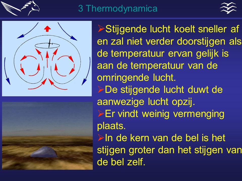  Stijgende lucht koelt sneller af en zal niet verder doorstijgen als de temperatuur ervan gelijk is aan de temperatuur van de omringende lucht.  De