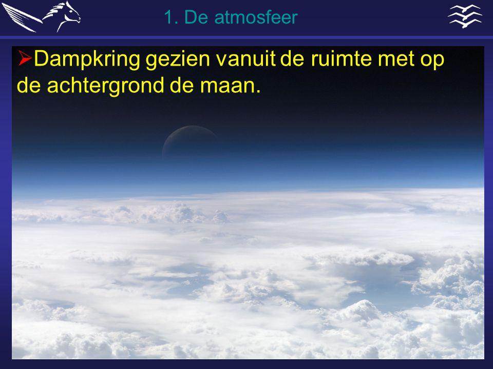  Dampkring gezien vanuit de ruimte met op de achtergrond de maan. 1. De atmosfeer