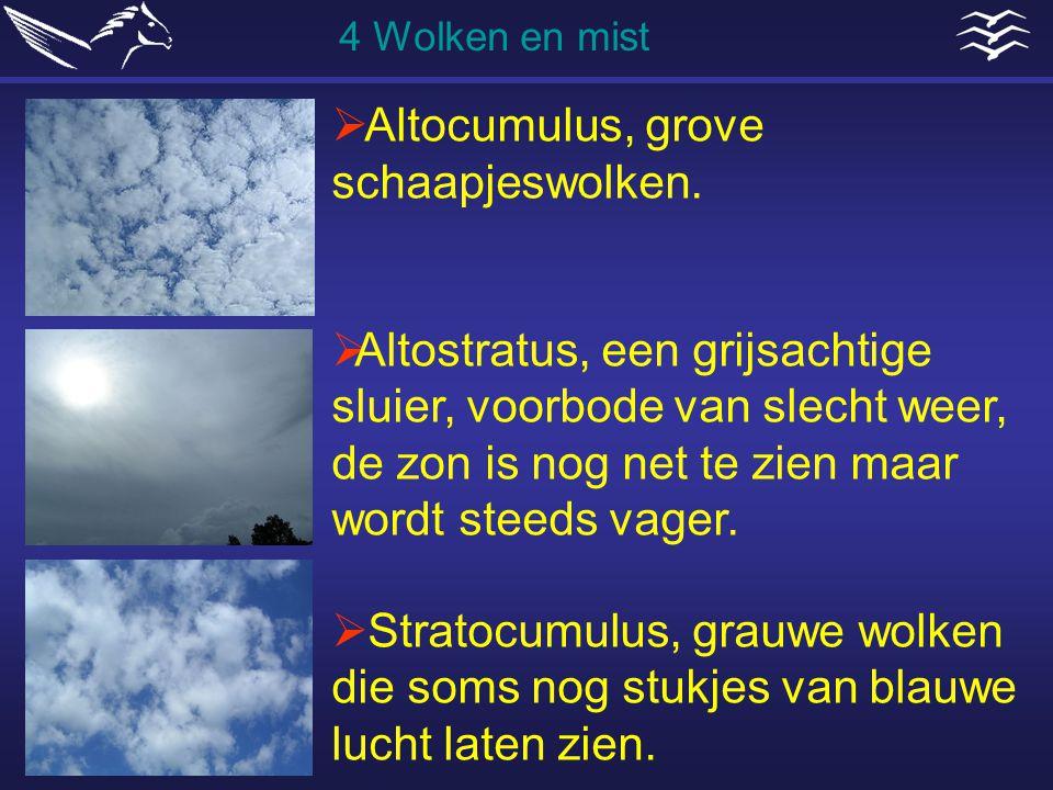  Altocumulus, grove schaapjeswolken.  Altostratus, een grijsachtige sluier, voorbode van slecht weer, de zon is nog net te zien maar wordt steeds va
